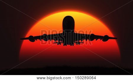 The silhouette of an airplane in flight at sunset. This is a 3d render illustration