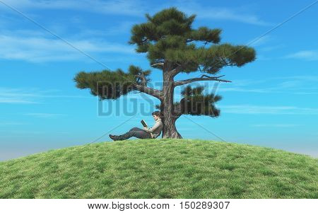 Man reading a book under a tree. This is a 3d render illustration
