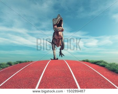 A dinosaur running on a running track. This is a 3d render illustration