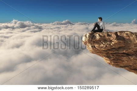 Man standing on a rock overclouds admiring the view. This is a 3d render illustration