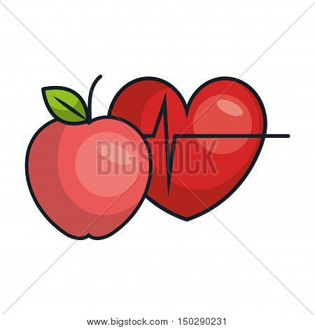 red apple and cardio pulse heart. vector illustration