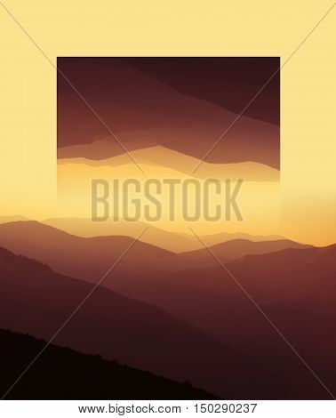 Sunrise Over Mountains Silhouettes. Geometric Reflections Effect