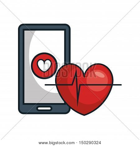 smartphone device with fitness app and cardio pulse heart. vector illustration