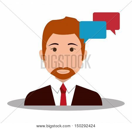 avatar businessman wearing suit and tie with speech bubbles. vector illustration
