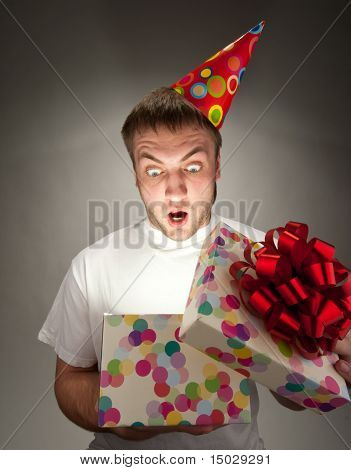 Birthday Man Opening Gift Box