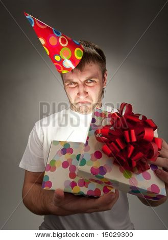 Sad Birthday Man Opening Gift Box