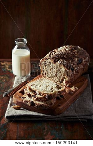 Rustic yeast cake with dried fruits and nuts