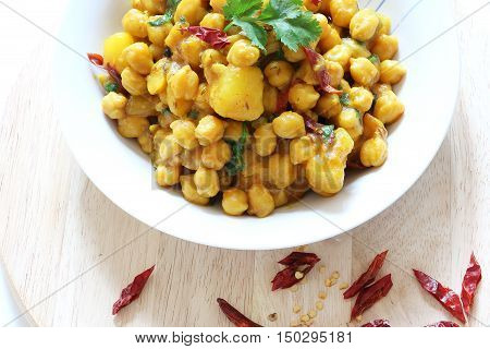 Indian,Pkaistani,Nepali cuisine, Spicy chickpeas with potato curry