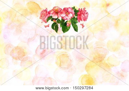 A bouquet of tender pink roses and camellias, flowers and buds, with green leaves and butterflies, hand painted in the style of vintage botanical art, on a pastel background with copyspace