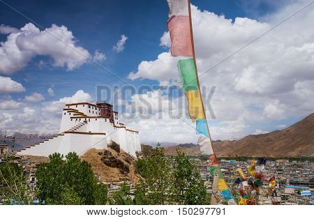 Prayer flags hung for blessing, compassion, and protection. Prayer flags in the wind. Prayer flags are used in Tibet, Nepal, and India.