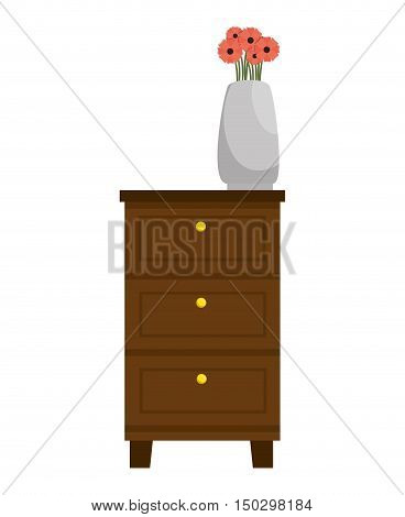 chest of drawers home furniture wooden and vase with flowers. vector illustration