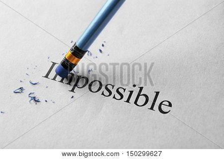 Erasing word impossible on paper