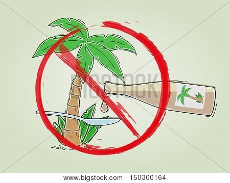 No palm oil sign. Illustration with palm oil stop sign isolated on white background.