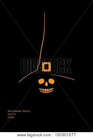 Invitation to Halloween party. Vector illustration of a skull in a witch hat with typewriter style text
