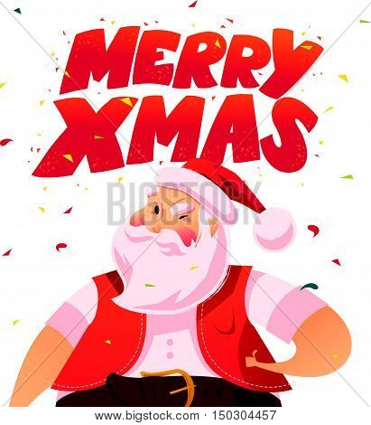 Vector flat santa character portrait isolated on white background. Cartoon style. Merry Christmas, Happy New Year congratulation decoration design element. Good for xmas congratulation card, banner.