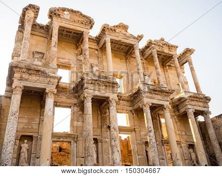 SELCUK IZMIR TURKEY- SEPTEMBER 13 2016: Ephesus was an ancient Greek city on the coast of Ionia. UNESCO World Heritage Site.