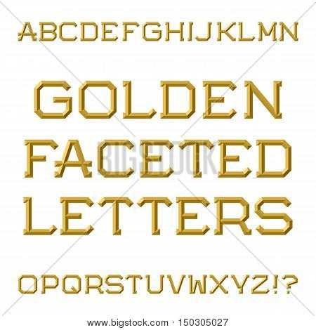 Golden faceted capital letters. Trendy and stylish font. Isolated latin alphabet.