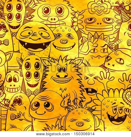Seamless Background for your Design with Different Cartoon Contour Monsters, Tile Pattern with Cute Funny Characters, Visible Through the Monotone Yellow Color Filter. Eps10 Vector