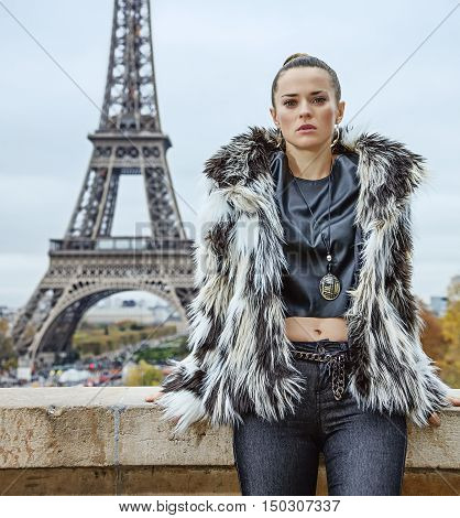 Trendy Woman Against Eiffel Tower In Paris, France