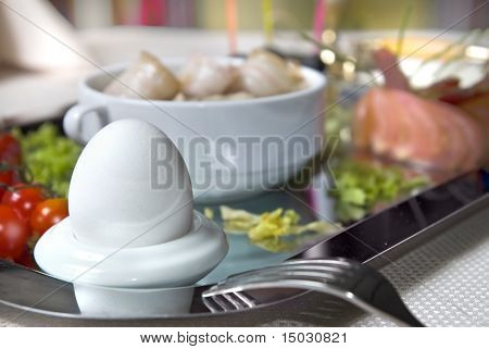 Close up english breakfast with egg