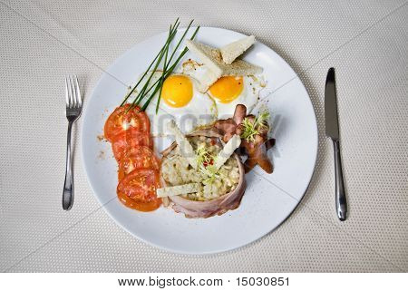 English breakfast on the plate