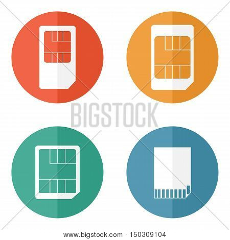 Sim card and SD card icons vector