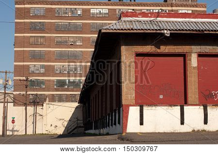 Abandoned warehouses in New Jersy loading dock doors