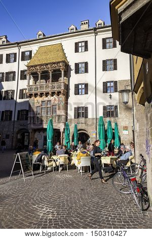 INNSBRUCK AUSTRIA - NOVEMBER 1st 2015: The Golden Roof completed in 1500 ornamented with 2738 fire-gilded copper tiles for Emperor Maximilian I to mark his wedding to Bianca Sforza