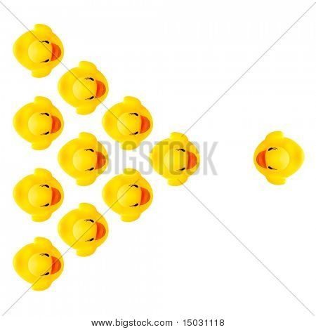 rubber yellow ducks isolated on white
