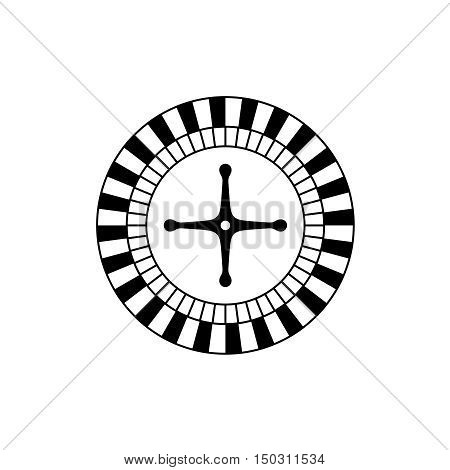 Roulette game casino wheel black icon top view.