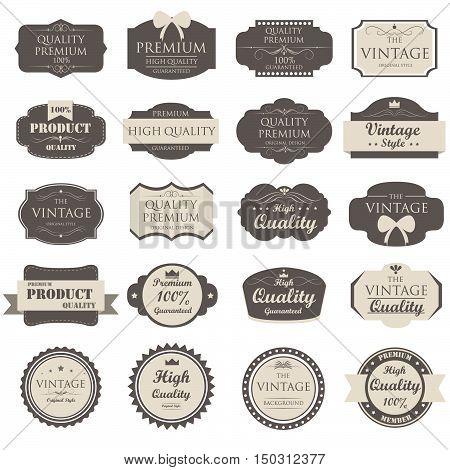set of vintage label old fashion ; vector illustration