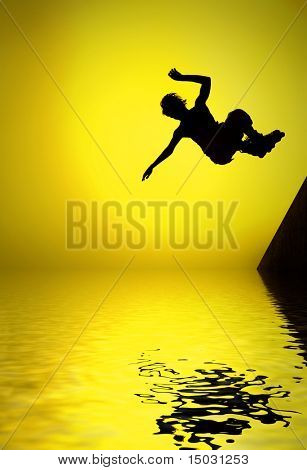 silhouette of roller boy jumping in air