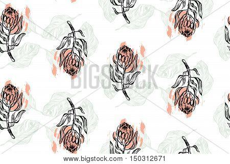Hand drawn vector graphic abstract textured seamless pattern with protea. Floral motif for wrapping wallpaper fabric textile
