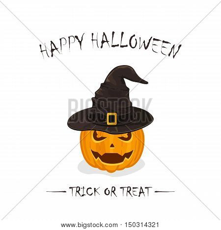 Halloween theme, two pumpkins in black witch hats with golden buckle isolated on white background, inscription Happy Halloween and trick or treat, illustration.