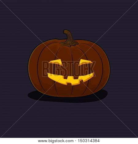 Carved Grinning Scary Halloween Pumpkin on Dark Background, a Jack-o-Lantern, Vector Illustration