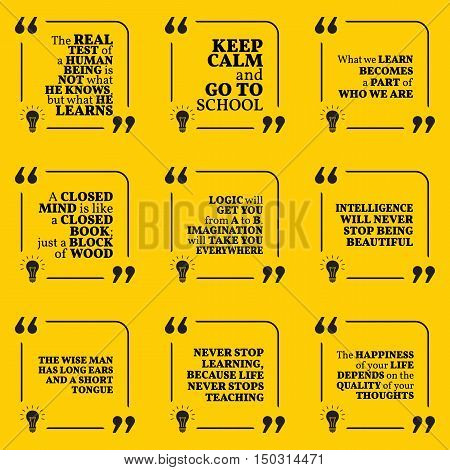 Set Of Motivational Quotes About Learning, School, Imagination, Wisdom, Intelligence, Education And