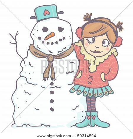 Cute, little girl in winter clothing hugging funny snowman. Vector cartoon of snowman and girl, isolated.