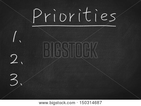 priority concept. text word on blackboard background