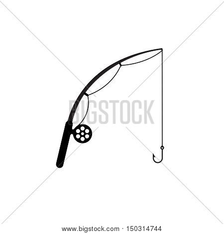 Fishing rod simple silhouette icon. Fishing rod with reel line and hook. Black color only.