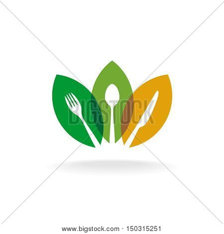 Natural organic food logo with cutlery silhouette and color overlay leaves. Vegan food concept. Farm fresh meal symbol.
