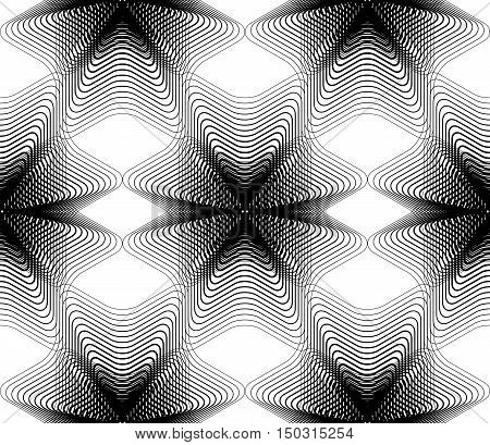 Black and white illusive abstract seamless pattern with overlapping shapes. Vector symmetric backdrop kaleidoscope ornate.