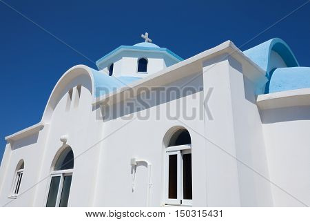 Small white church in Kos island Greece