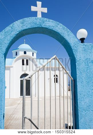 Gate to the church in Kos island Greece