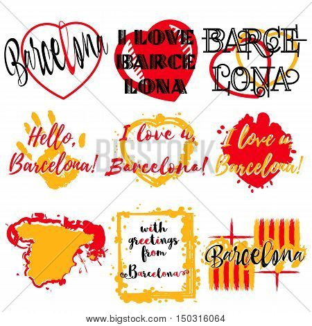 Set of stickers with lettering about Barcelona and heart paint splashes in yellow red Spanish colors on white. Collection of souvenir prints for fabric textiles clothing shirts. Vector illustration