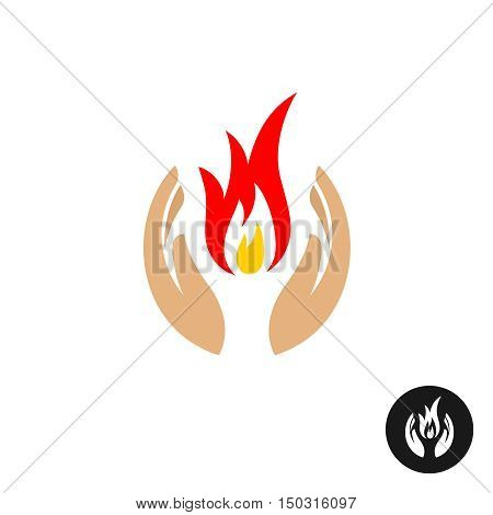 Care hands with fire inside color logo. Sweet memory sorrow symbol. Mourn icon.