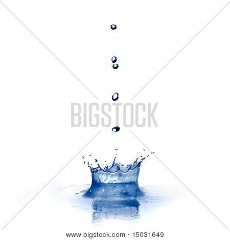 Water Splash mit Tropfen, isolated on white