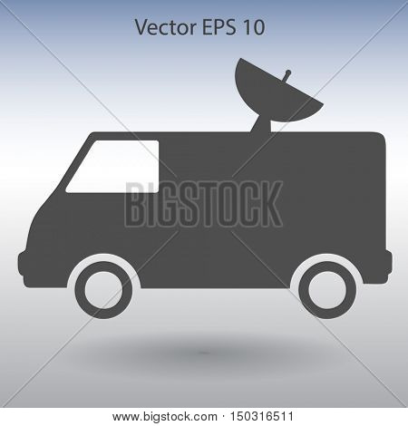 van with a satellite dish on the roof vector picture