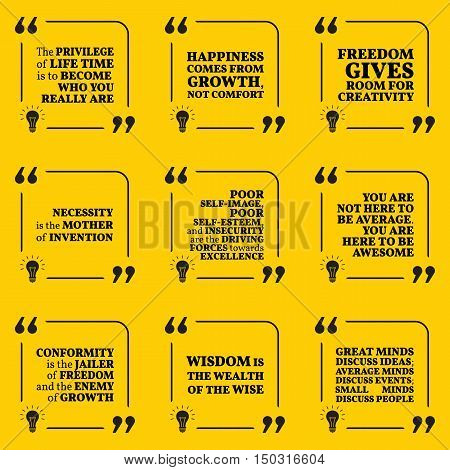 Set Of Motivational Quotes About Happiness, Growth, Creativity, Freedom, Invention, Wisdom And Perso