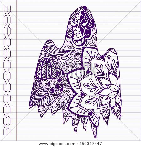 Hand drawn ghost in doodle style on notebook page.