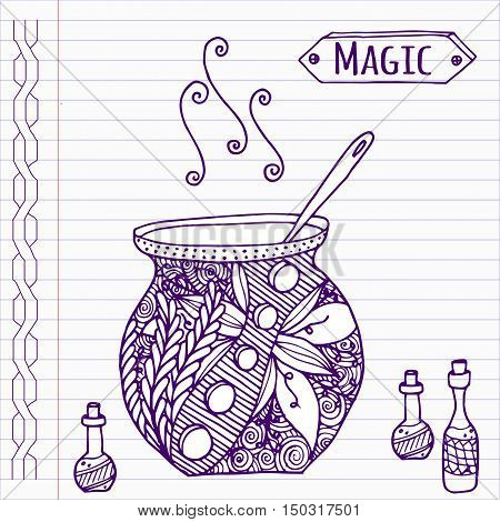 Hand drawn witch pot in doodle style on notebook page.
